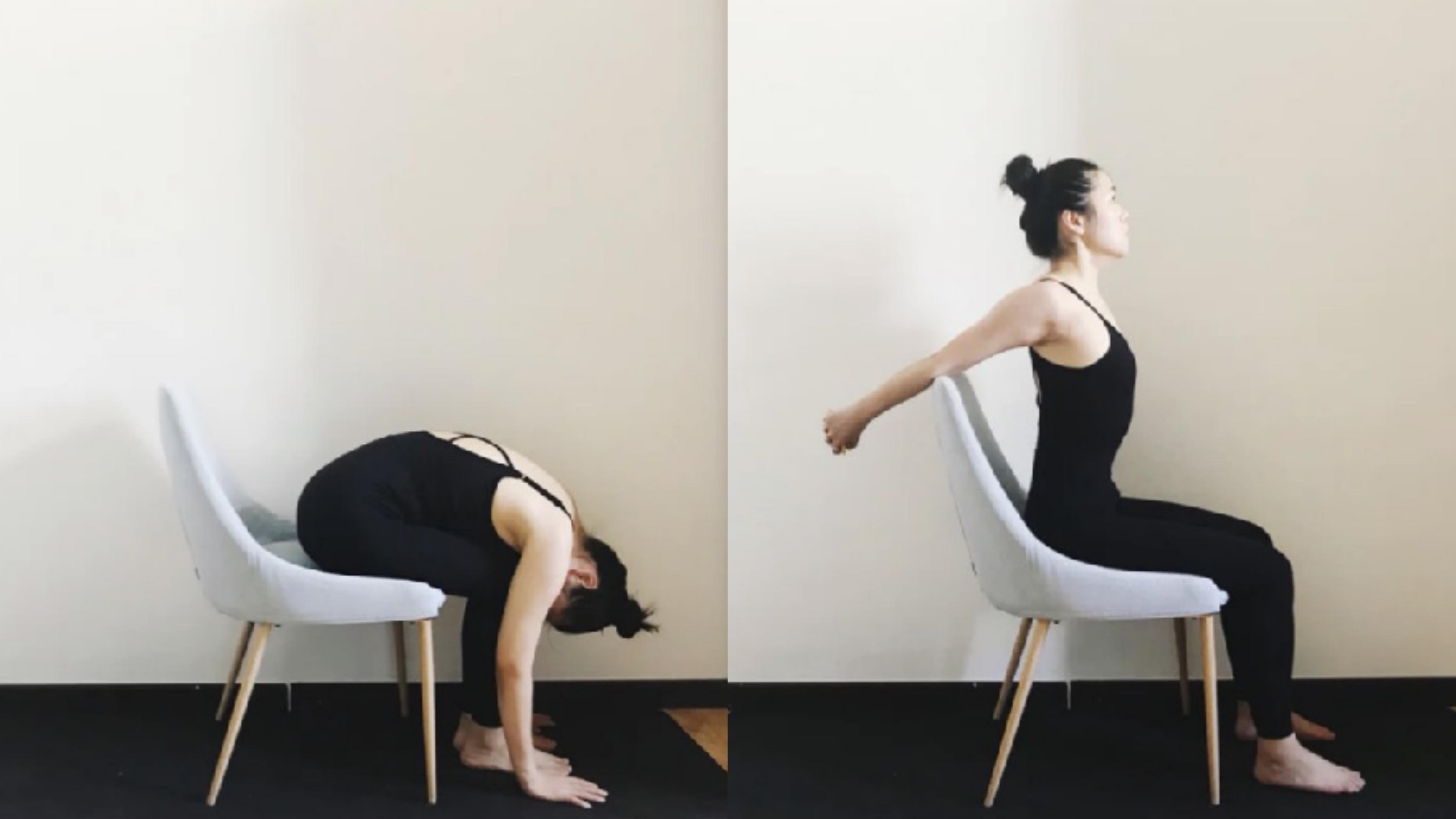 練習的過程中,要注意去感受肩頸的放鬆和拉伸