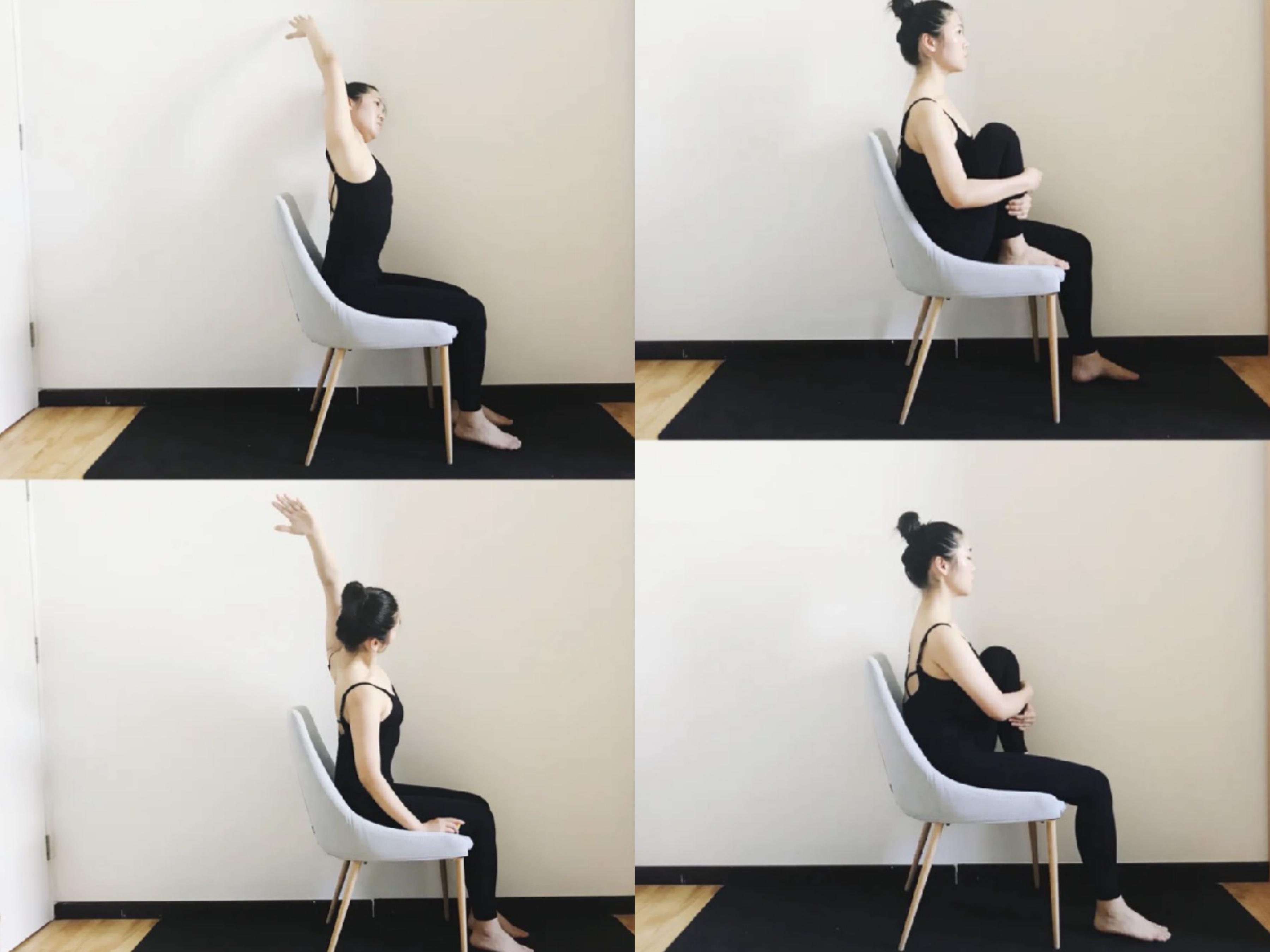 用椅子+瑜珈墊,放鬆伸展,腰腿細、頸椎好