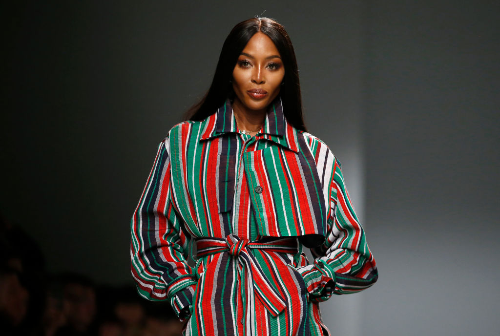 Naomi Campbell is taking germ prevention seriously during coronavirus fears, pictured here at Paris Fashion Week (Getty)