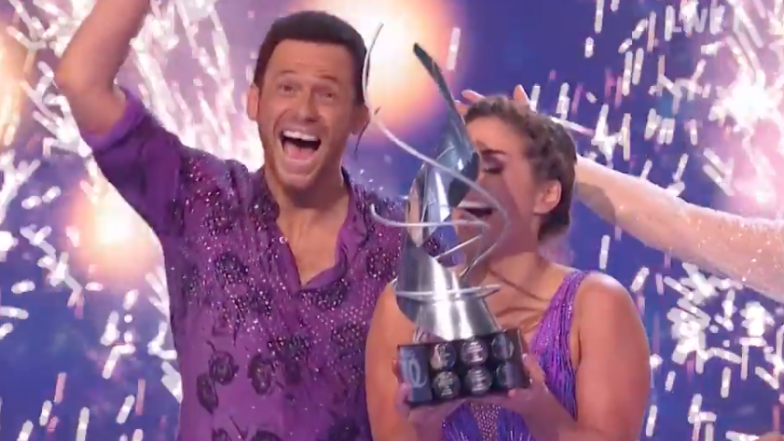 Joe Swash won 'Dancing On Ice' alongside professional skating partner Alex Murphy. (ITV)