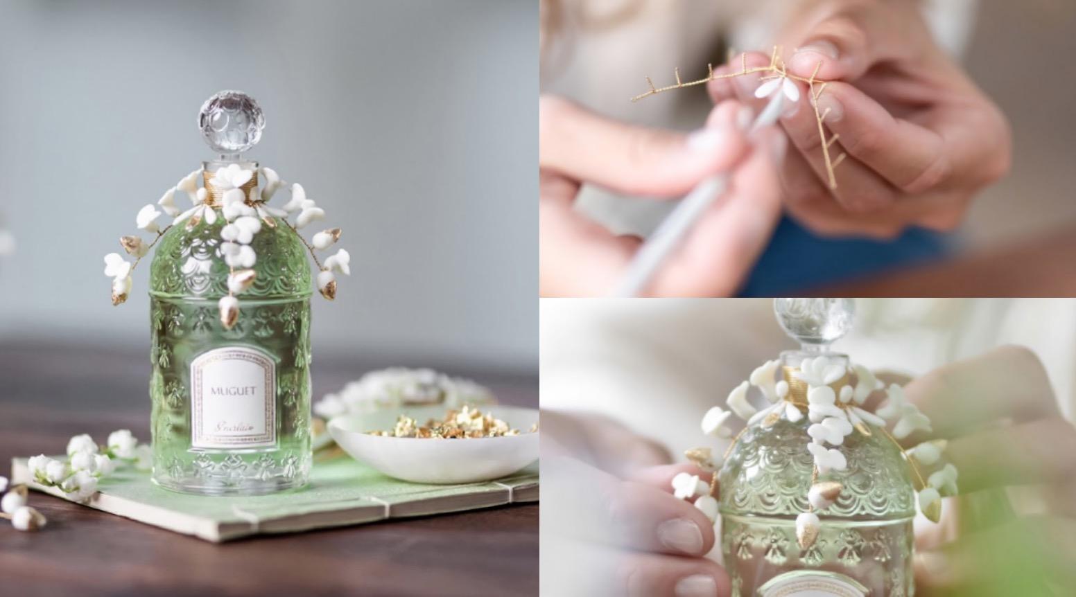 由藝術家手工定製白瓷花瓣鑲嵌鍍金鑲飾綠葉宛若鈴蘭落花於風中翩翩飛舞