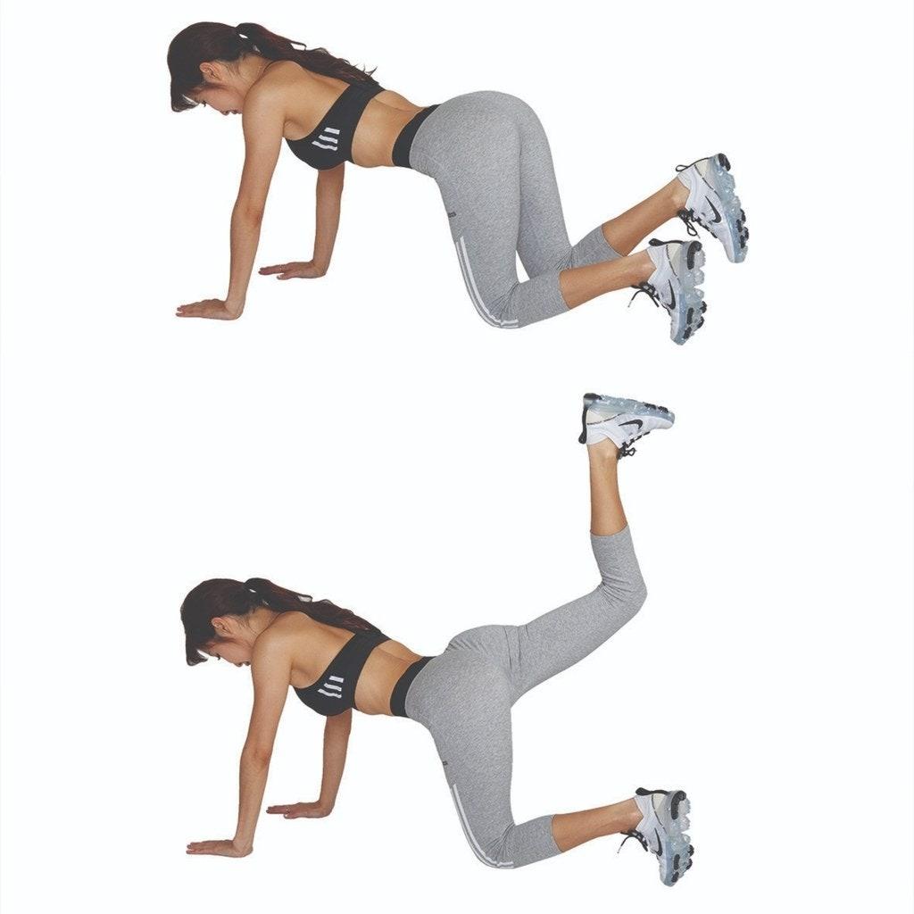 要專注刺激臀部並把腳抬起來(初學者的腳可能無法抬得很高,只要專注在臀部肌肉的收縮與放鬆就好)。