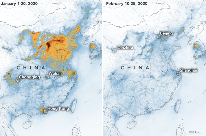 A NASA map shows a dramatic difference in nitrogen dioxide levels over China in January and February.