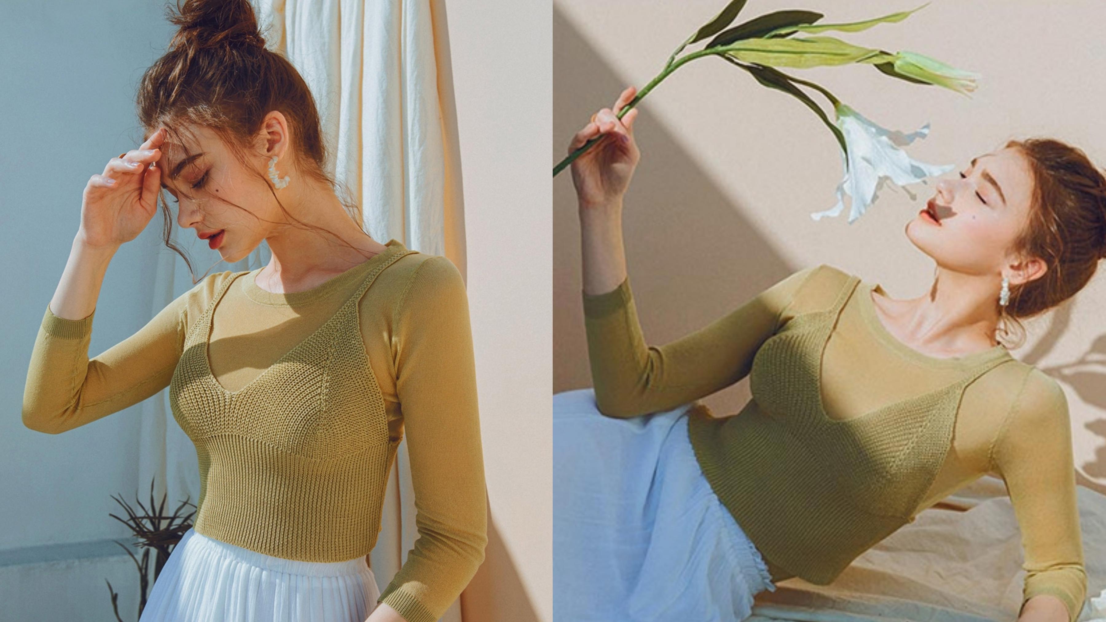 韓妞很愛的合身針織設計,凸顯出美好的身型。