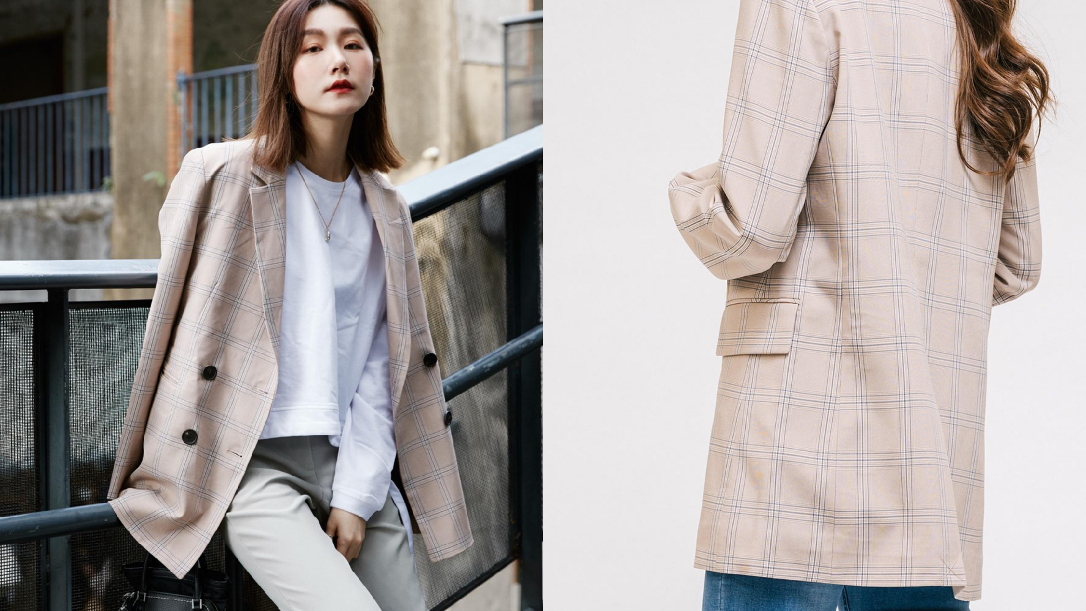 格紋+西裝版型,簡直就是韓劇女主角基本款