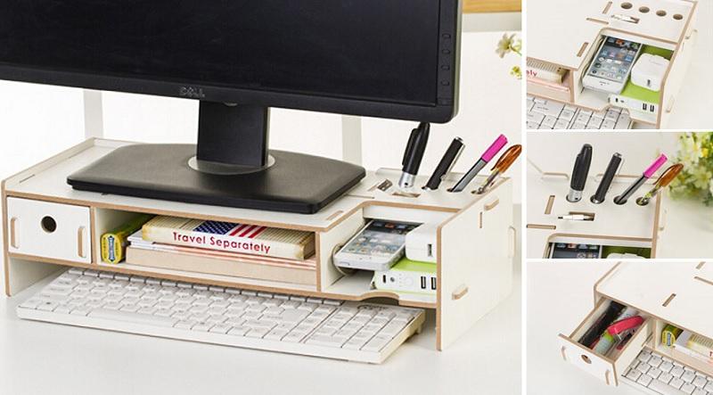 ▲螢幕架高兼具收鍵盤及功能眾多的細部收納,有助於書桌蛋黃區流暢運轉。(圖片來源:Yahoo購物中心)