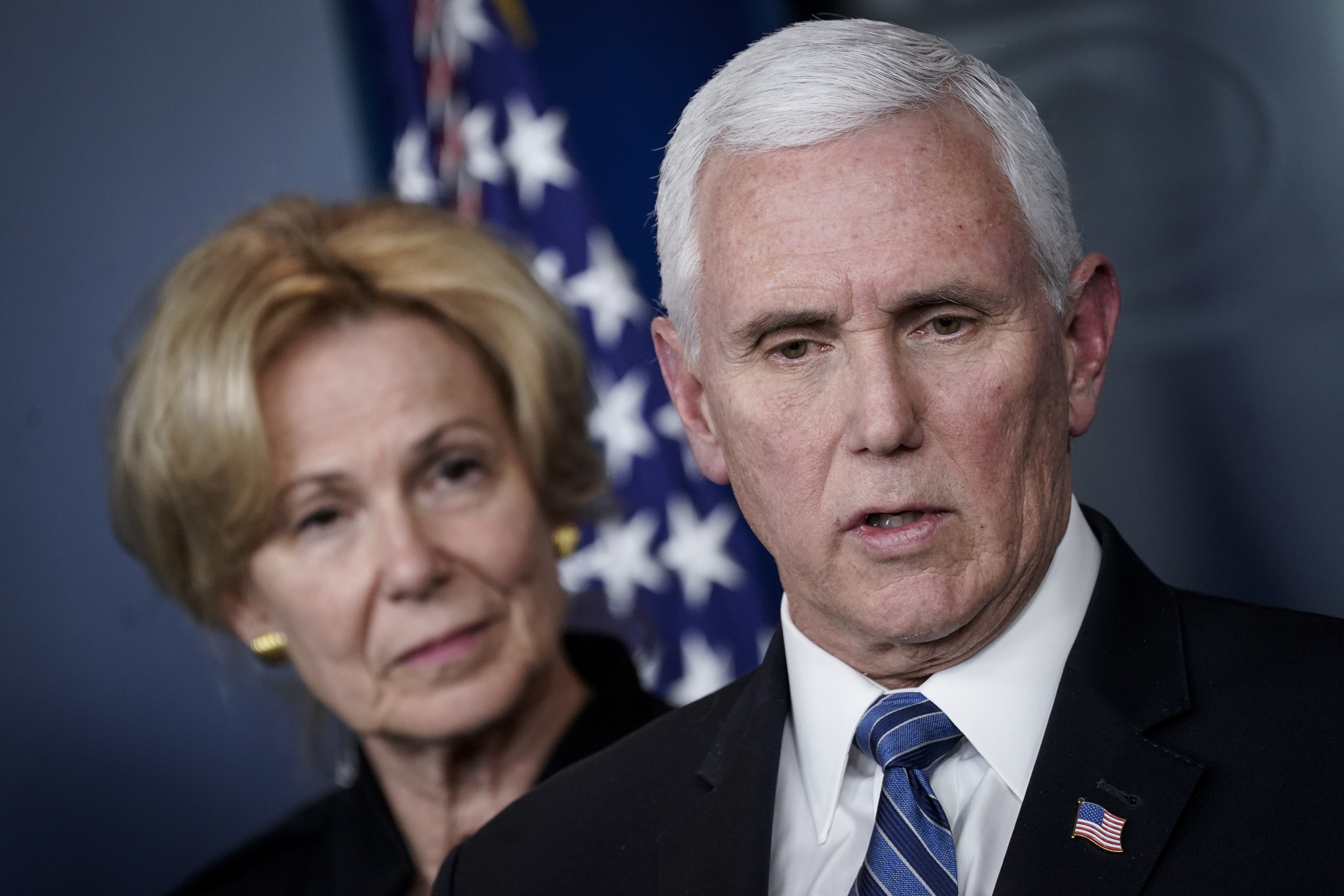 Debbie Birx, White House Corona Virus Response Coordinator, looks on as U.S. Vice President Mike Pence speaks during a briefing on the administration's coronavirus response in the press briefing room of the White House on March 2, 2020 in Washington, DC. (Drew Angerer/Getty Images)