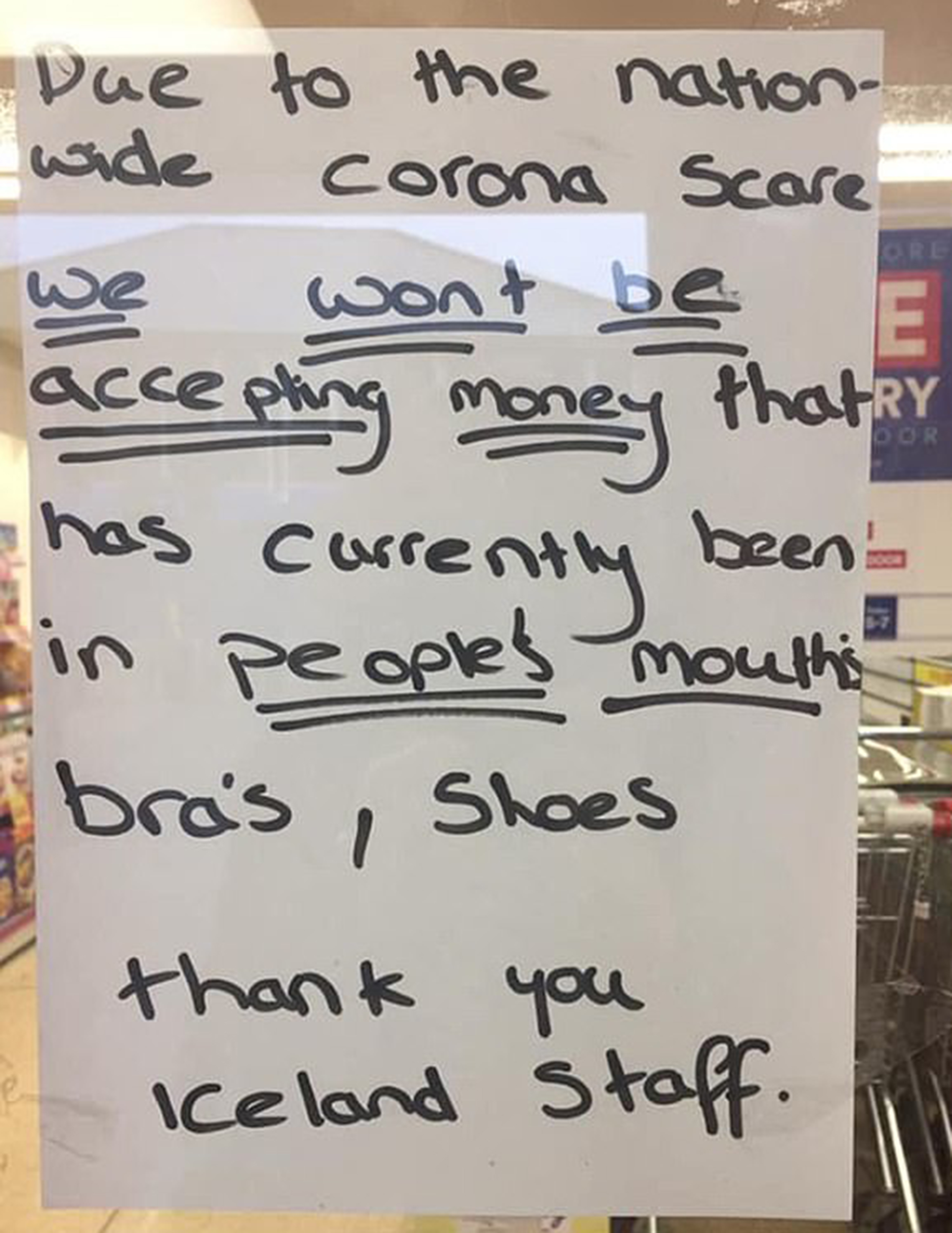 A sign from Iceland store in the UK