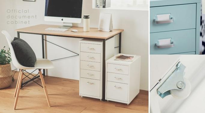 ▲附滾輪的抽屜活動櫃,可以把桌面雜物分類收納,把手處紙卡寫上內容物,有助找東西時不失憶。(圖片來源:Yahoo購物中心)