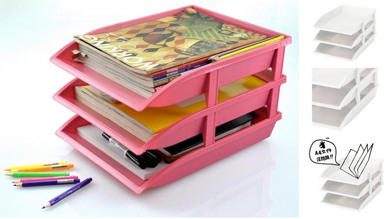 ▲文件架支撐點穩固,多層堆疊收納,有助於分類同時節省空間。(圖片來源:Yahoo購物中心)