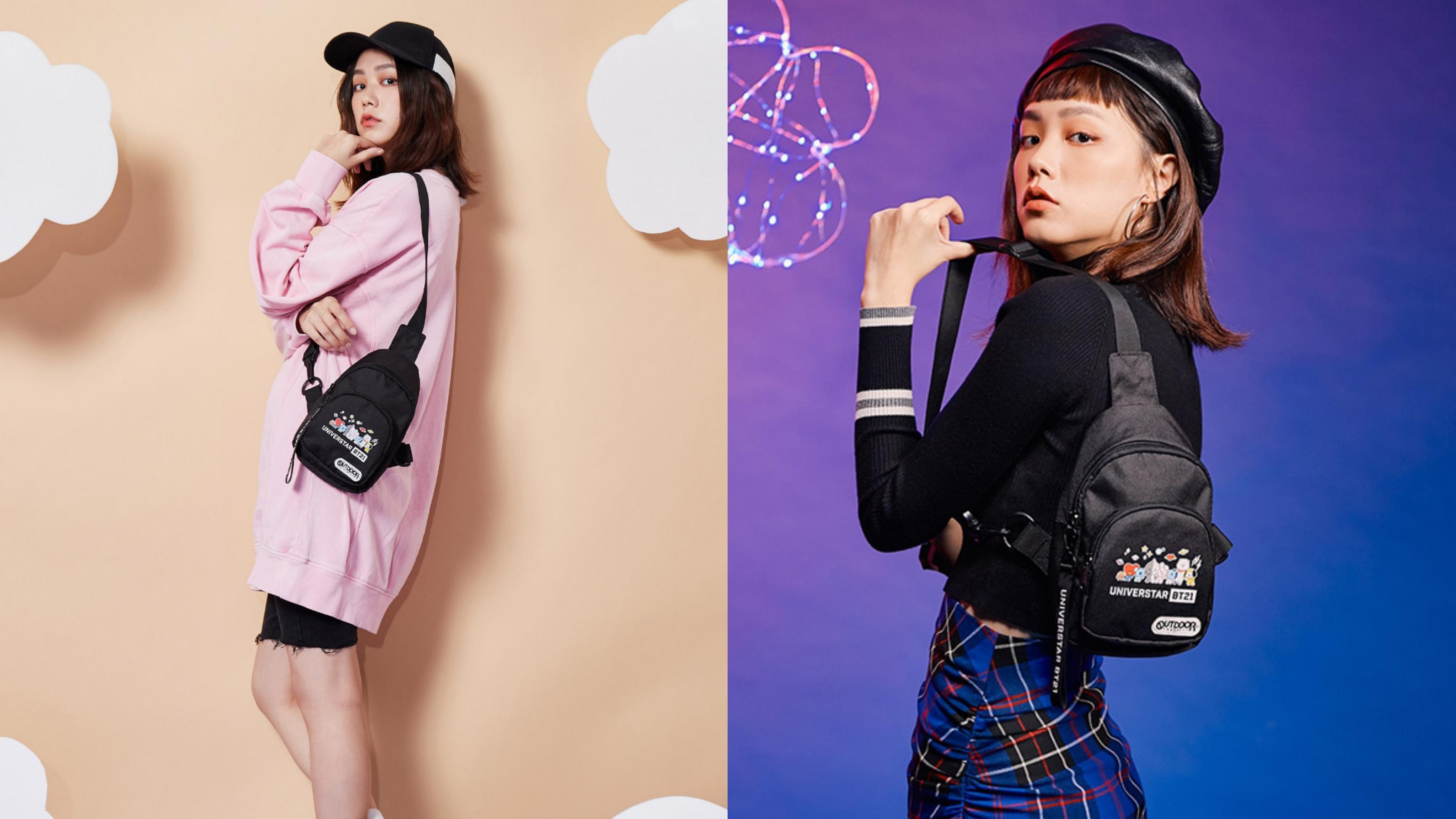 受歡迎的BT21& OUTDOOR聯名款單肩包,內貼袋/拉鍊袋收納分類方便