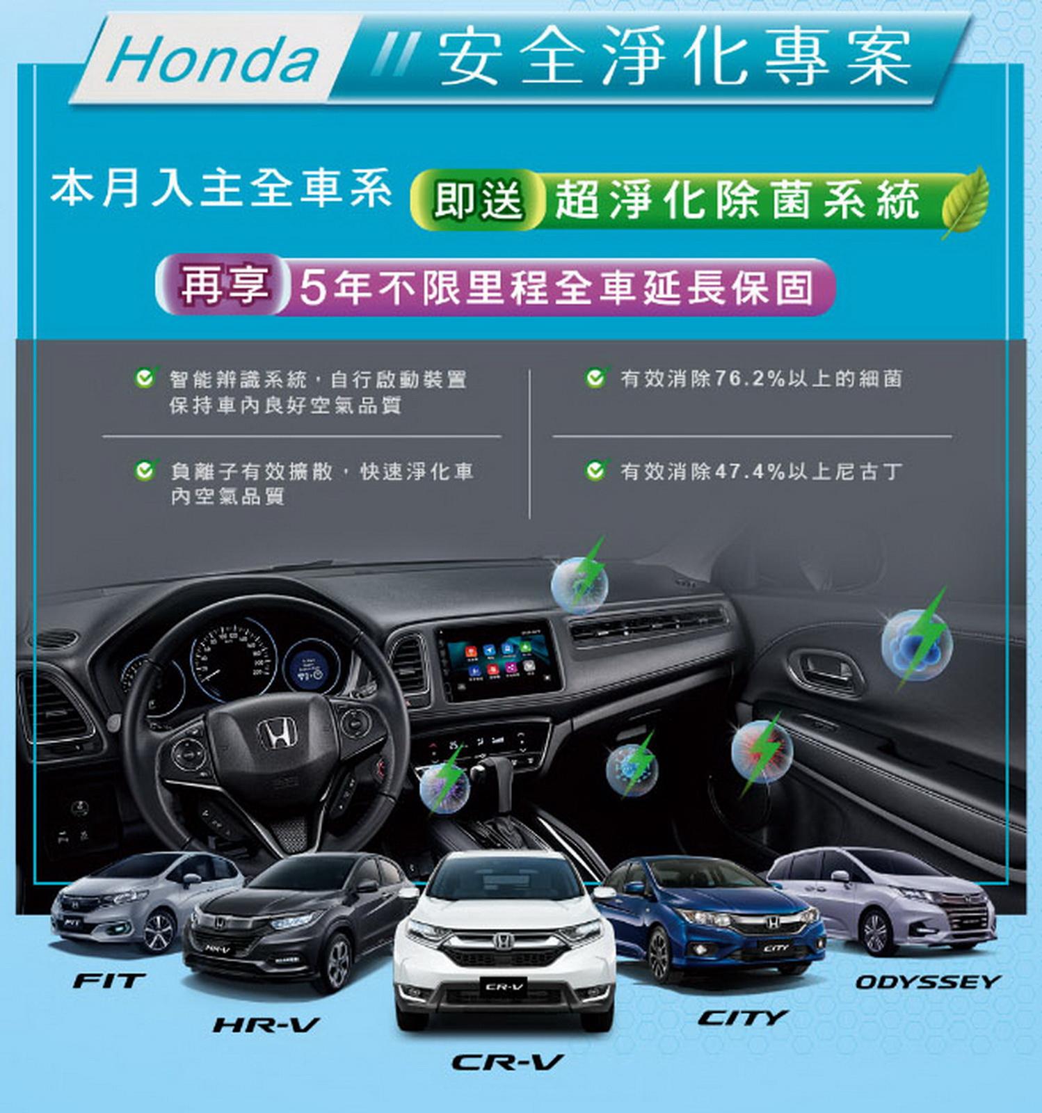 圖/Honda推安全淨化專案 入主送超淨化除菌系統