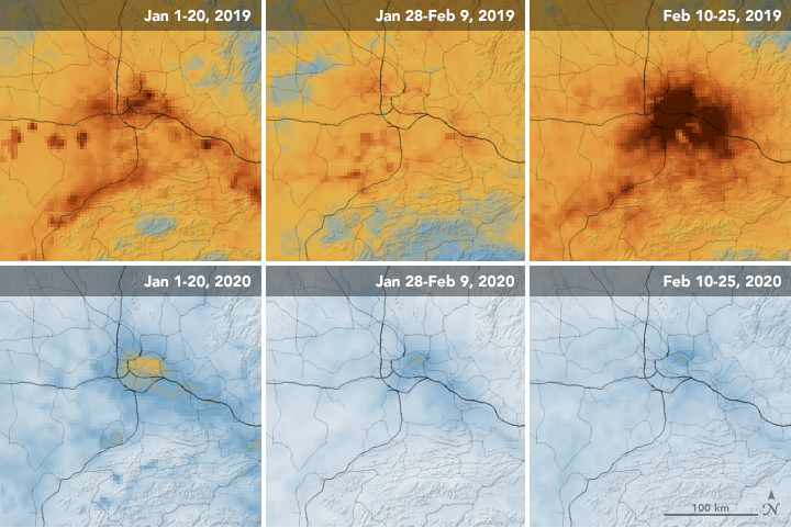 Satellite images in the top row from January 1 to February 25 last year, showing air pollution covering China. The bottom three photos show the same time this year with pollution clearing up.