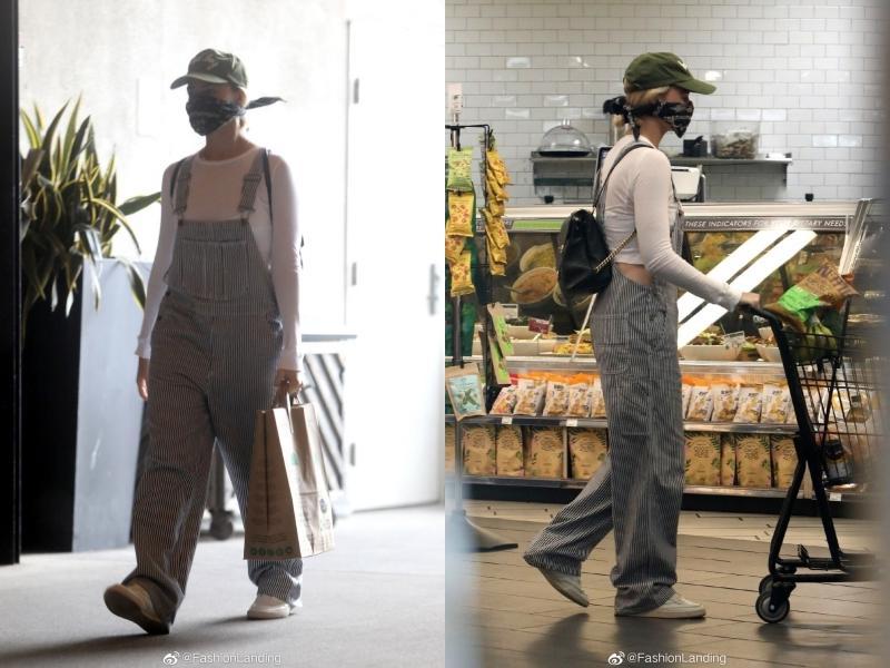 Margot Robbie一身休閒造型上超市囤貨,取代口罩的包巾卻意外引起討論。(截自微博)