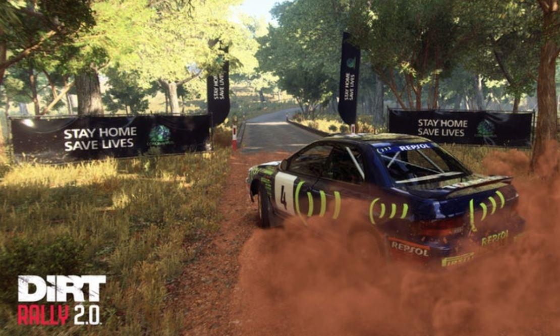 遊戲中可以看到宣傳標語。(圖源:DIRT RALLY2.0)