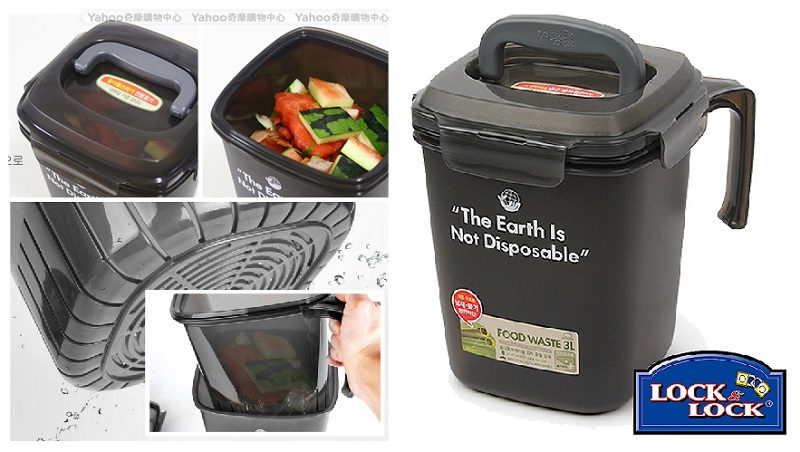 ▲廚餘回收桶具備瀝水與密閉功能,異味不外洩,杯狀提把方便傾倒。現在4.8L+3.0L組合價990。(圖片來源:Yahoo購物中心)