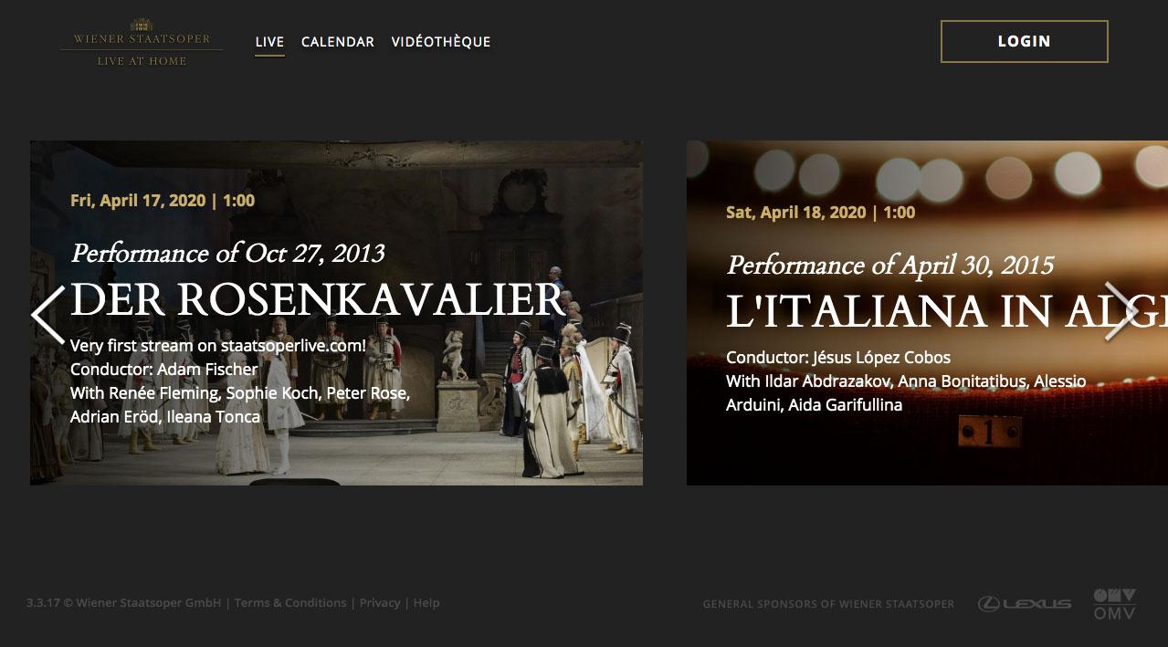 維也納國家歌劇院官網 (圖片來源:www.staatsoperlive.com/live)