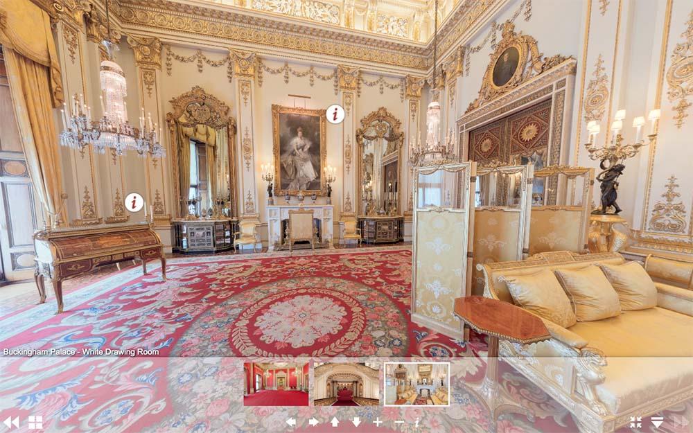 白金漢宮虛擬遊覽網頁-白色客廳(圖片來源:www.royal.uk/virtual-tours-buckingham-palace)