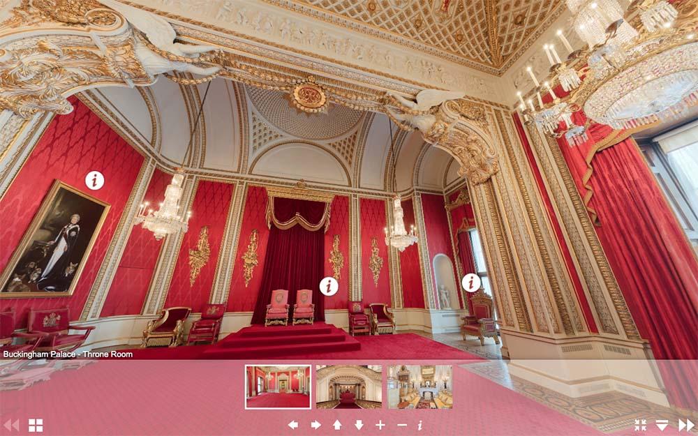 白金漢宮虛擬遊覽網頁-寶座廳(圖片來源:www.royal.uk/virtual-tours-buckingham-palace)