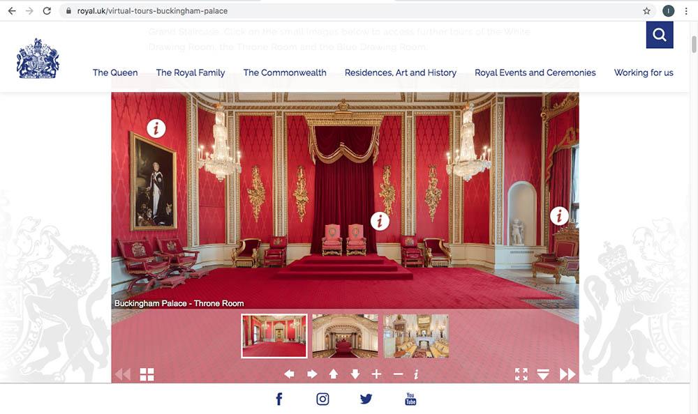 白金漢宮虛擬遊覽主頁(圖片來源:www.royal.uk/virtual-tours-buckingham-palace)