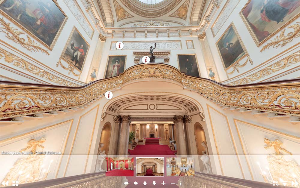 白金漢宮虛擬遊覽網頁-大階梯(圖片來源:www.royal.uk/virtual-tours-buckingham-palace)