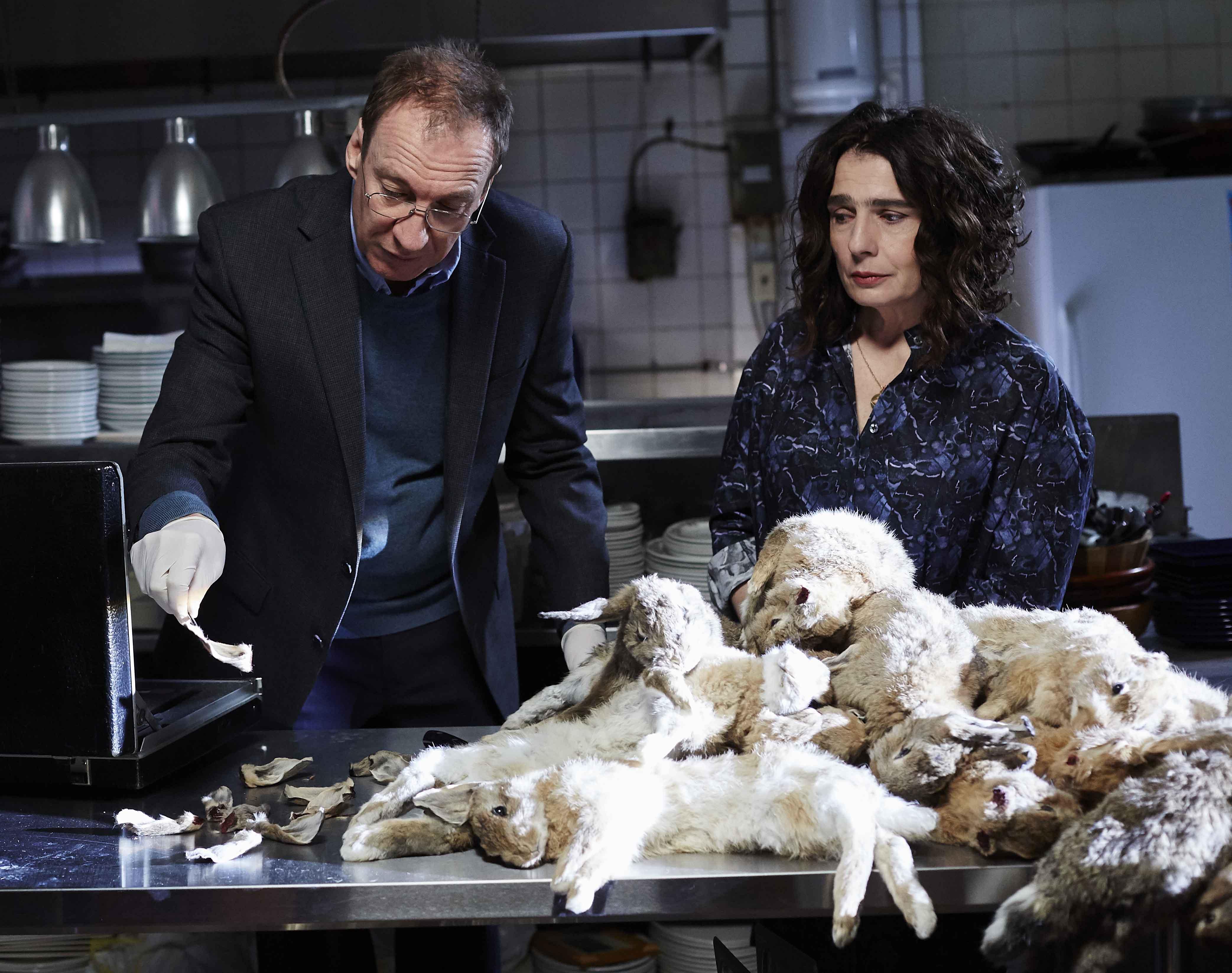 艾騰伊格言的妻子艾絲妮韓嘉(右)也特別演出片中的外來移民餐廳老闆娘,因非法私賣兔肉而被大衛休利斯(左)盯上