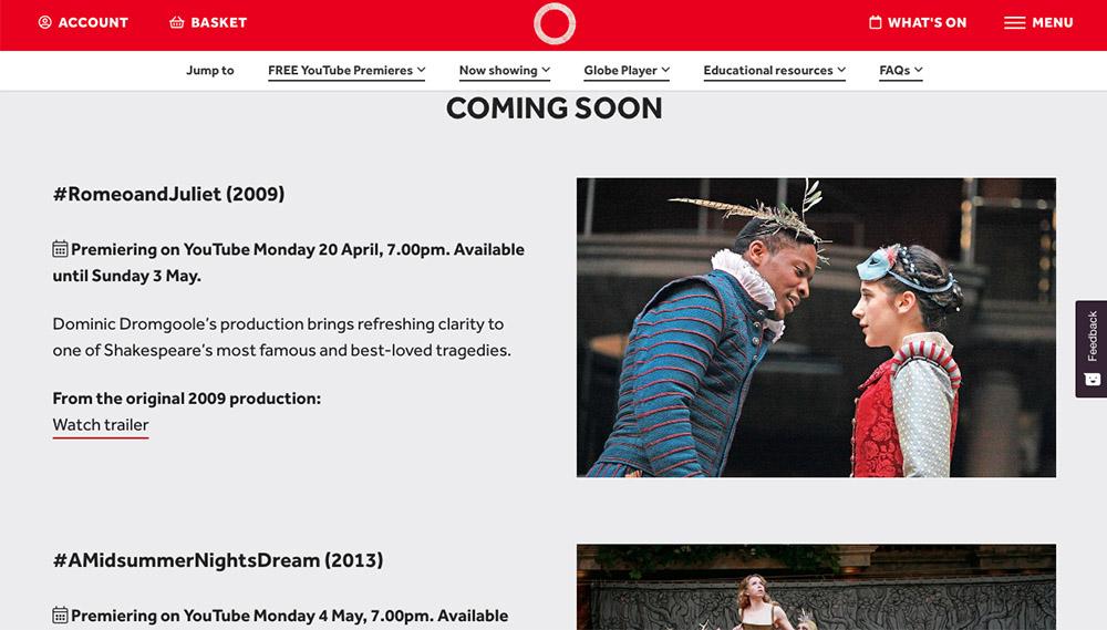 莎士比亞環球劇場官網 (圖片來源:www.shakespearesglobe.com/watch)