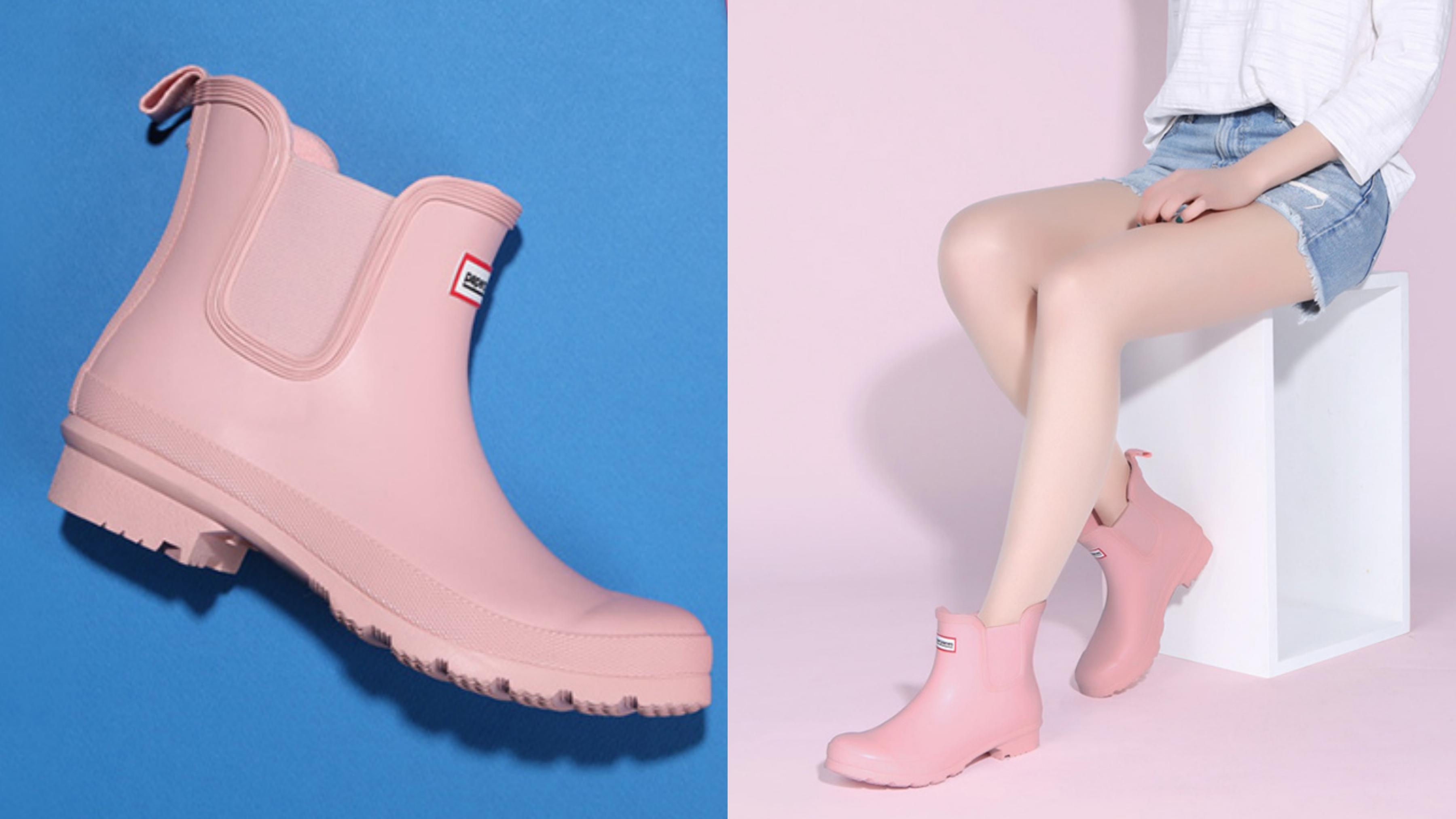 韓國潮人最愛的品牌,雨鞋一樣超亮眼,粉嫩的櫻花色有夠夢幻