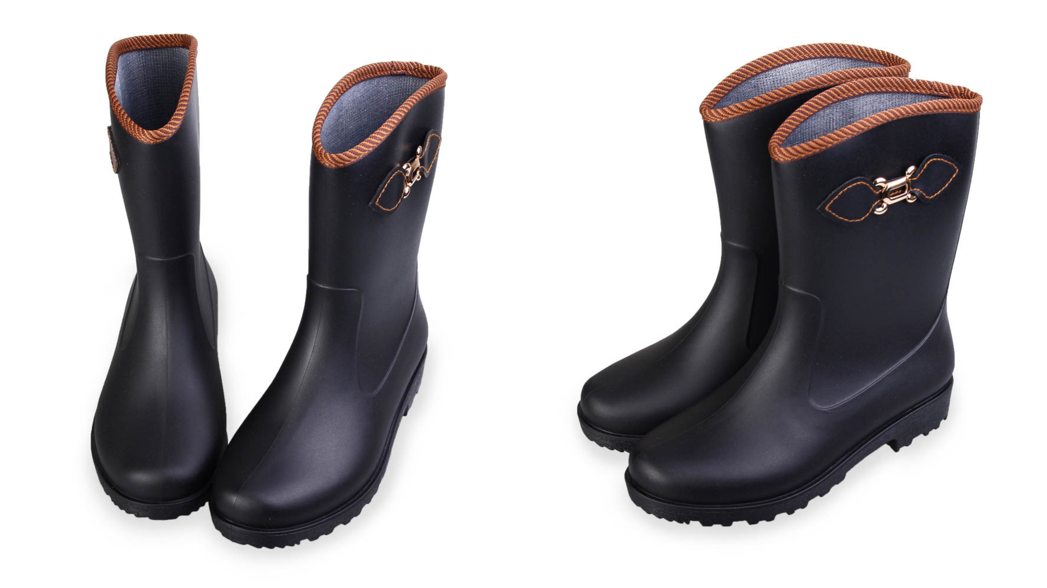 側邊釦環時尚設計搭配霧面中短筒防水雨靴,一體成型無縫設計,百分百防水
