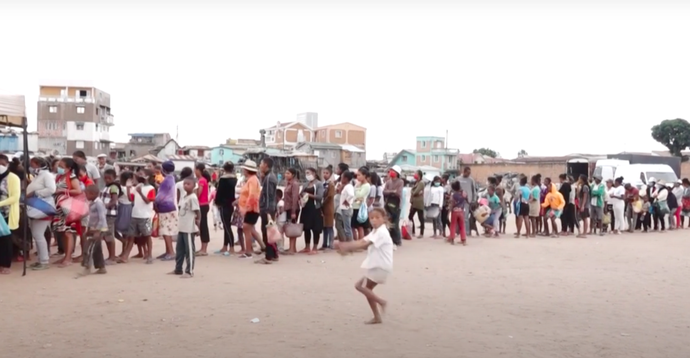Long queues formed in Madagascar for what the president said was a coronavirus 'cure'. (YouTube/AFP)