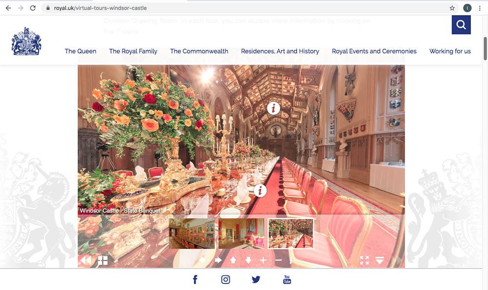 溫莎城堡虛擬遊覽主頁 (圖片來源:www.royal.uk/virtual-tours-windsor-castle)