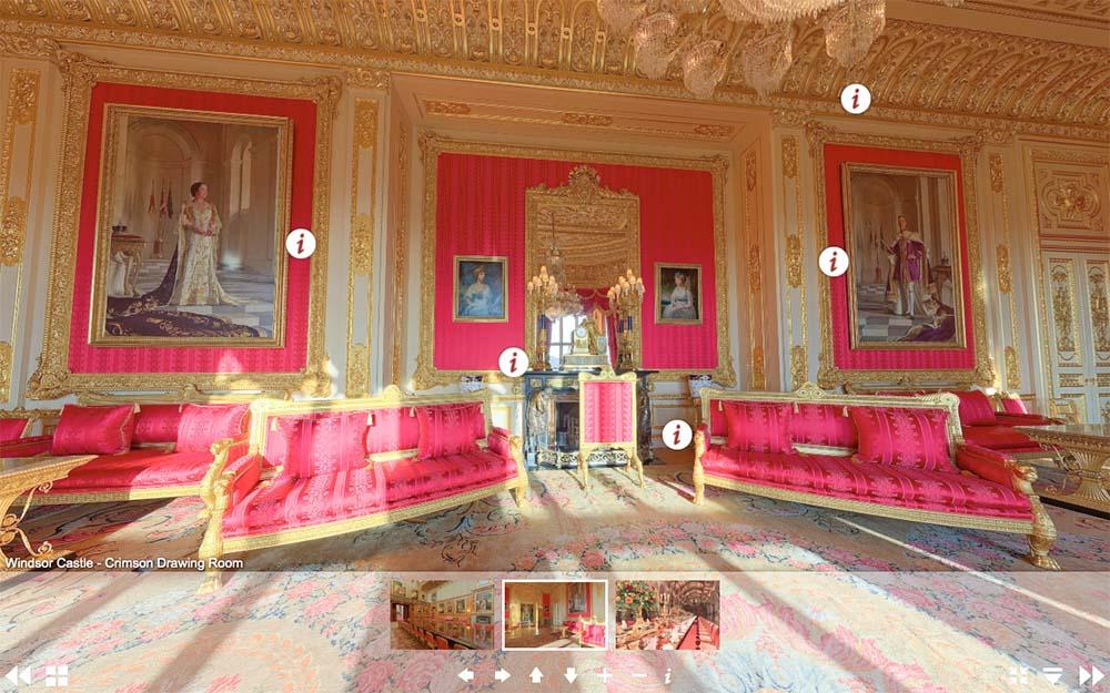溫莎城堡虛擬遊覽網頁-緋紅客廳(圖片來源:www.royal.uk/virtual-tours-windsor-castle)