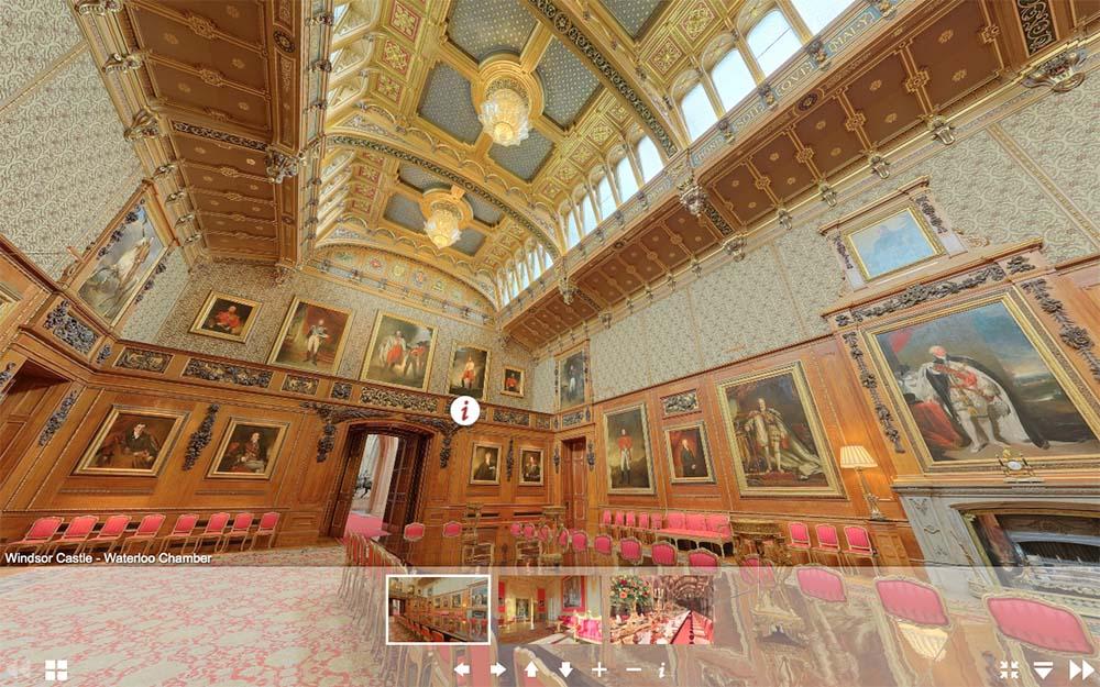 溫莎城堡虛擬遊覽網頁-滑鐵盧廳(圖片來源:www.royal.uk/virtual-tours-windsor-castle)