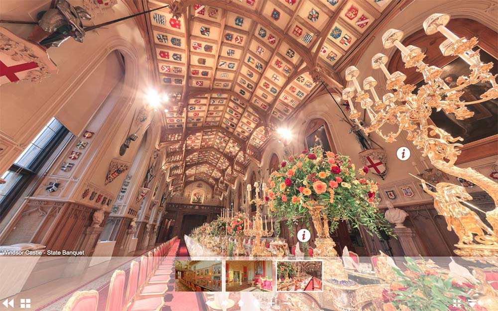 溫莎城堡虛擬遊覽網頁-聖喬治大廳國宴(圖片來源:www.royal.uk/virtual-tours-windsor-castle)