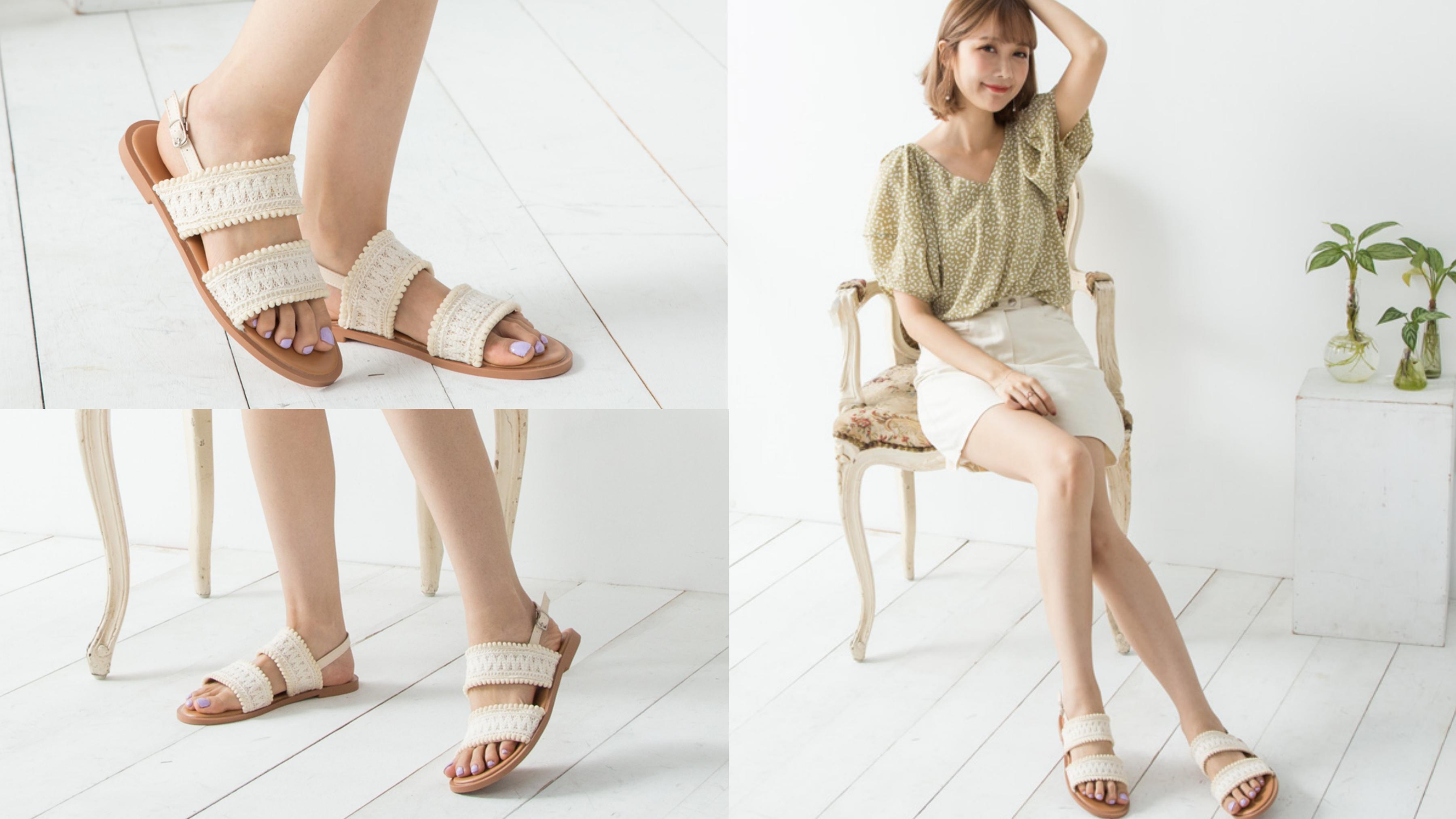 韓風美人感十足的織面涼鞋,增加毛球滾邊元素帶出輕鬆愜意的渡假氣息