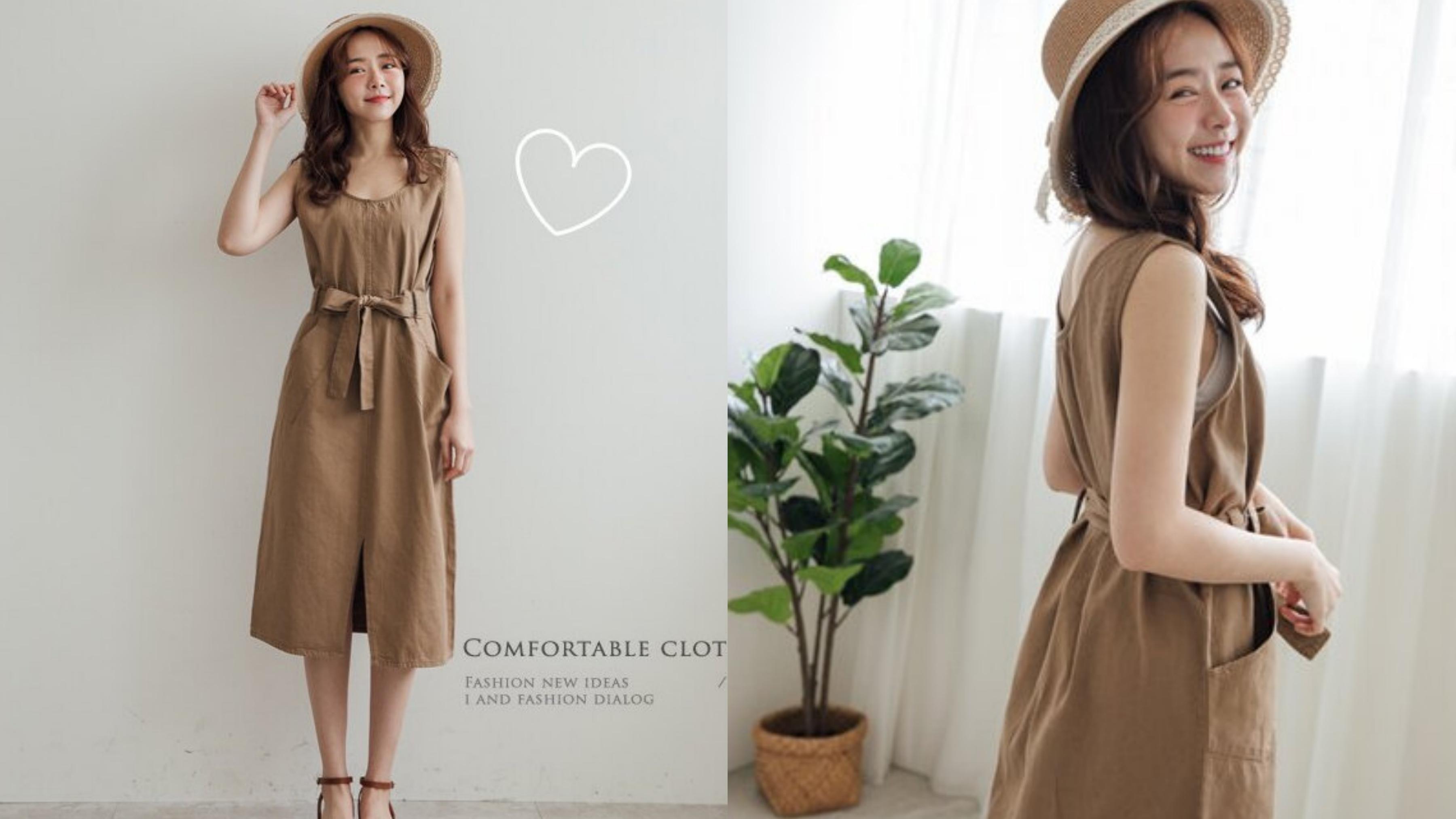 甜美又俏麗的附腰綁帶設計,苦甜感的可可奶茶色,有著大人感的氣質