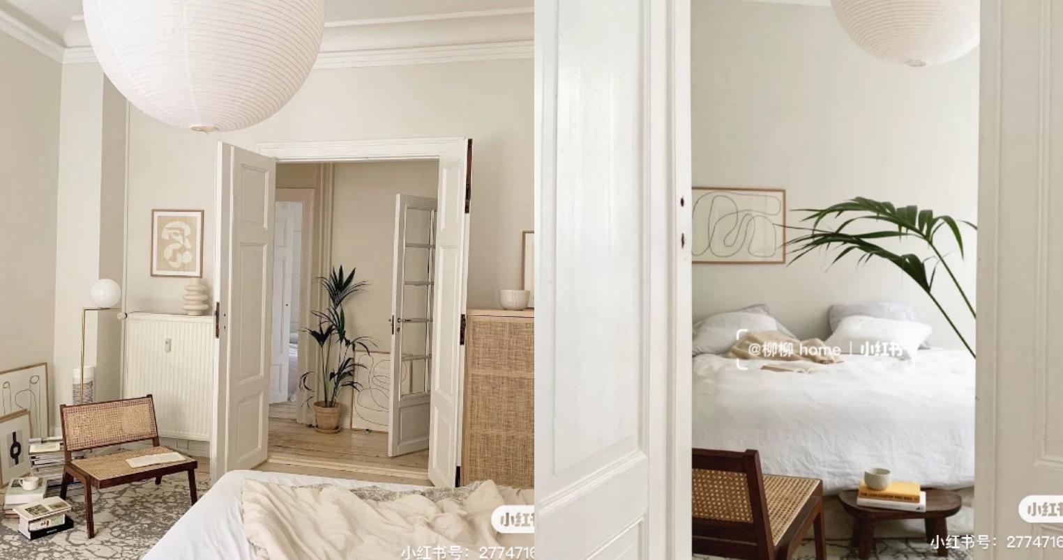 奶油白、奶茶色再搭配原木色,製造出的輕法式感臥室空間