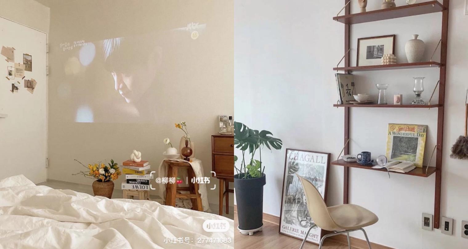 把不看的書本堆兩疊,中間蓋上一片玻璃就能當置物桌使用,而且玻璃的透視感會使空間不被壓迫,接著還可以在房間牆壁做投影,躺在家裡看電視就是那麼舒服呀!