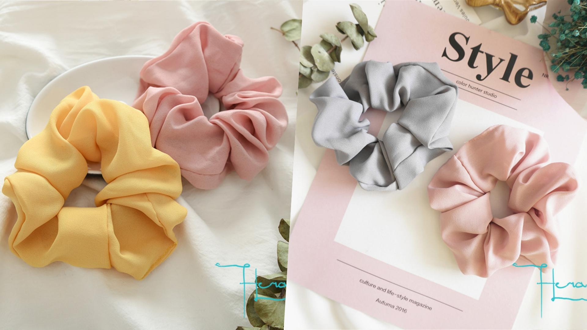 Hera赫拉 韓版素色彈力無縫大腸圈(四色),超粉嫩的顏色看起來超可愛,就算不綁頭髮也能戴在手上當裝飾!