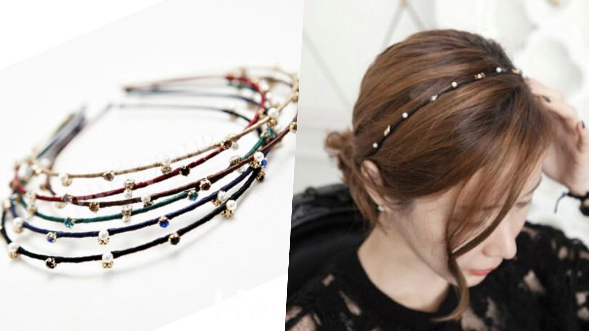 Hera赫拉 韓款氣質綴鑽珍珠細版頭箍/髮箍(三色),細版的看起來很秀氣,戴上去很有千金感!