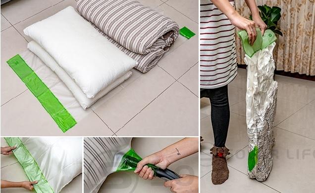 ▲抗靜電壓縮袋利用吸塵器抽出空氣,達到真空壓縮效果,防潮又縮小體積。(圖片來源:Yahoo購物中心)