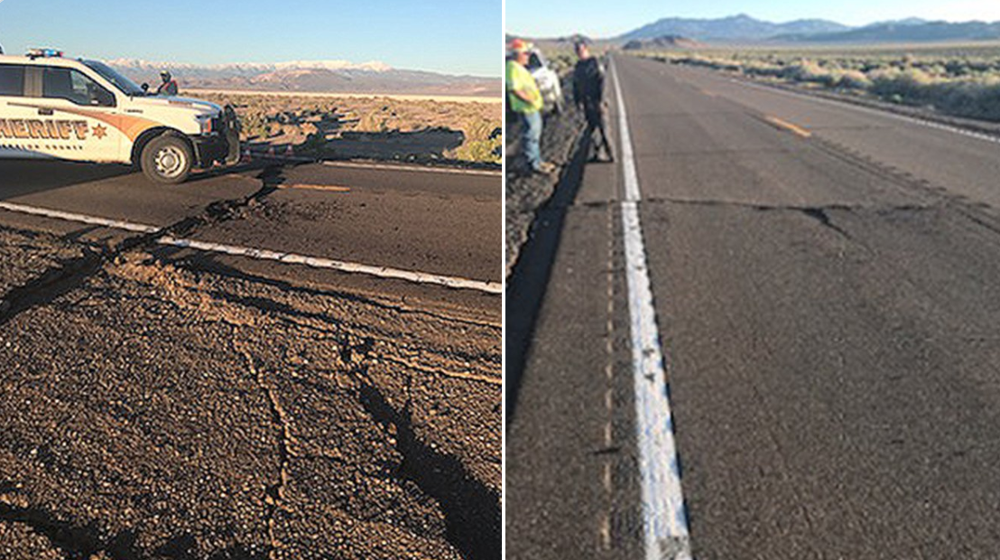 Nevada highway damaged by largest area quake in 65 years