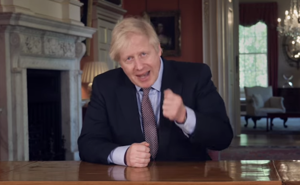 Boris Johnson during his address to the nation on Sunday.