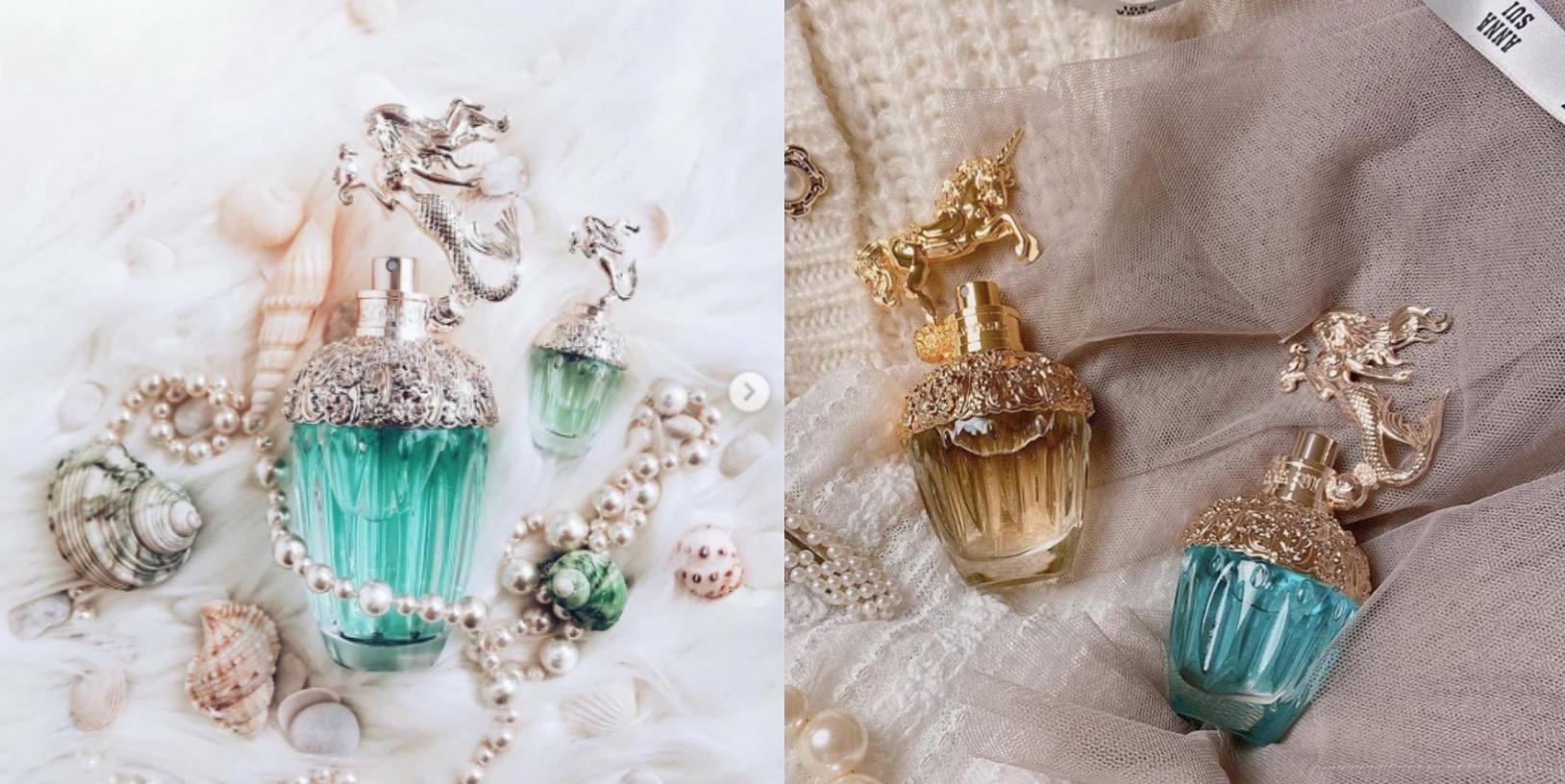 拋光水晶瓶中盛裝著象徵大海的藍綠色香水,香檳玫瑰金瓶蓋上烙印了葉子和花朵圖樣立體的美人魚公主雕像超美