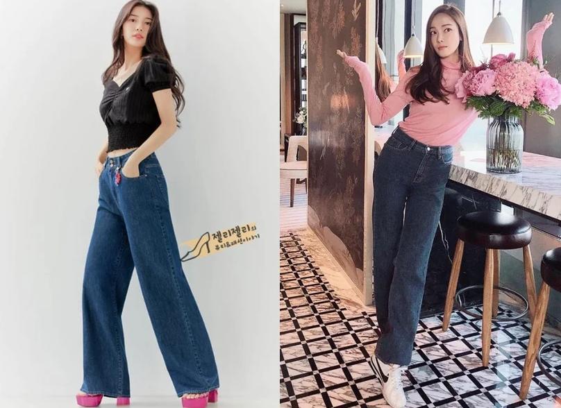 韓星牛仔長褲穿搭模板