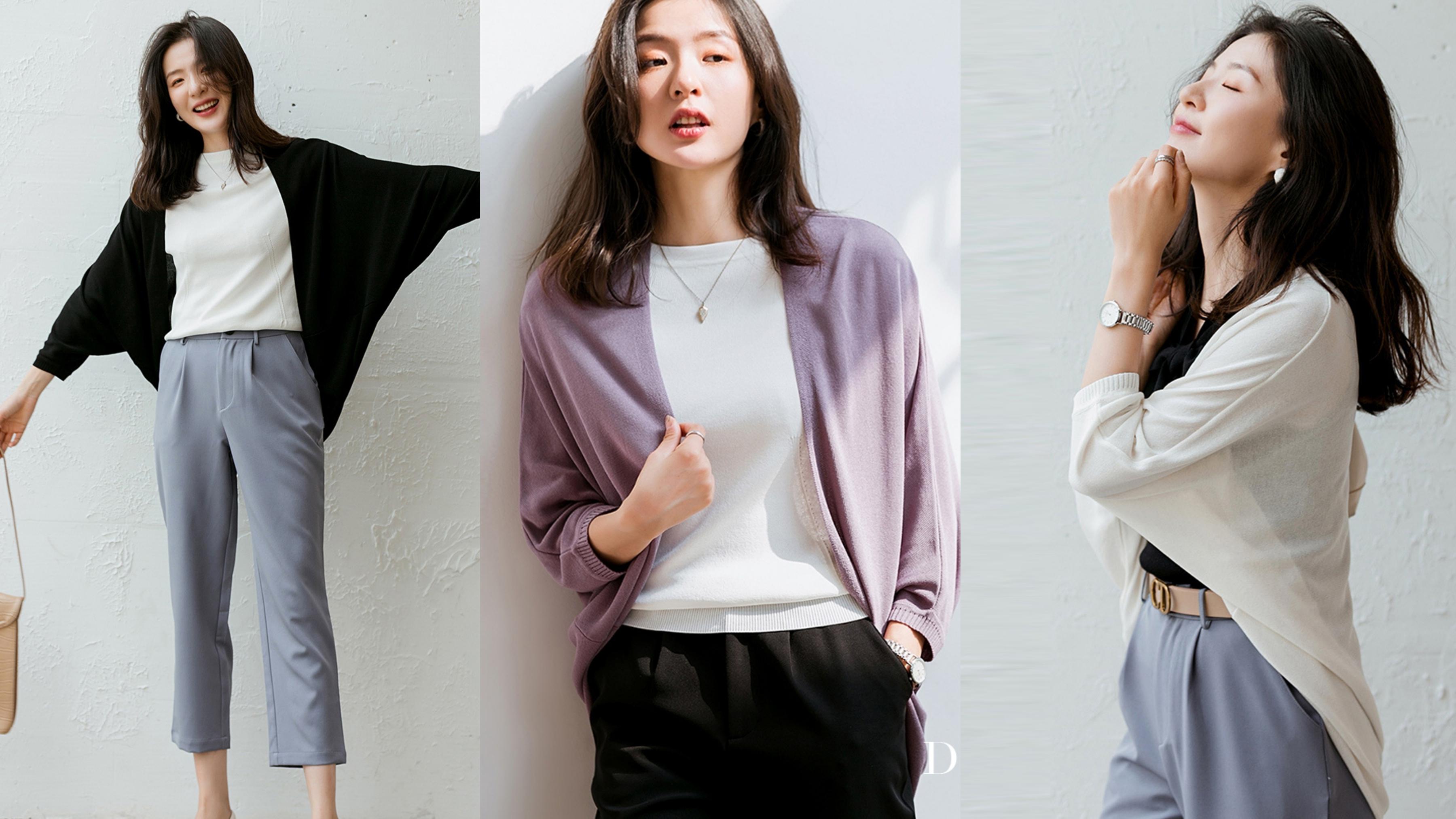 開襟飛鼠袖冰絲針織外套,豐富色選,滿足不同喜好個性的妳