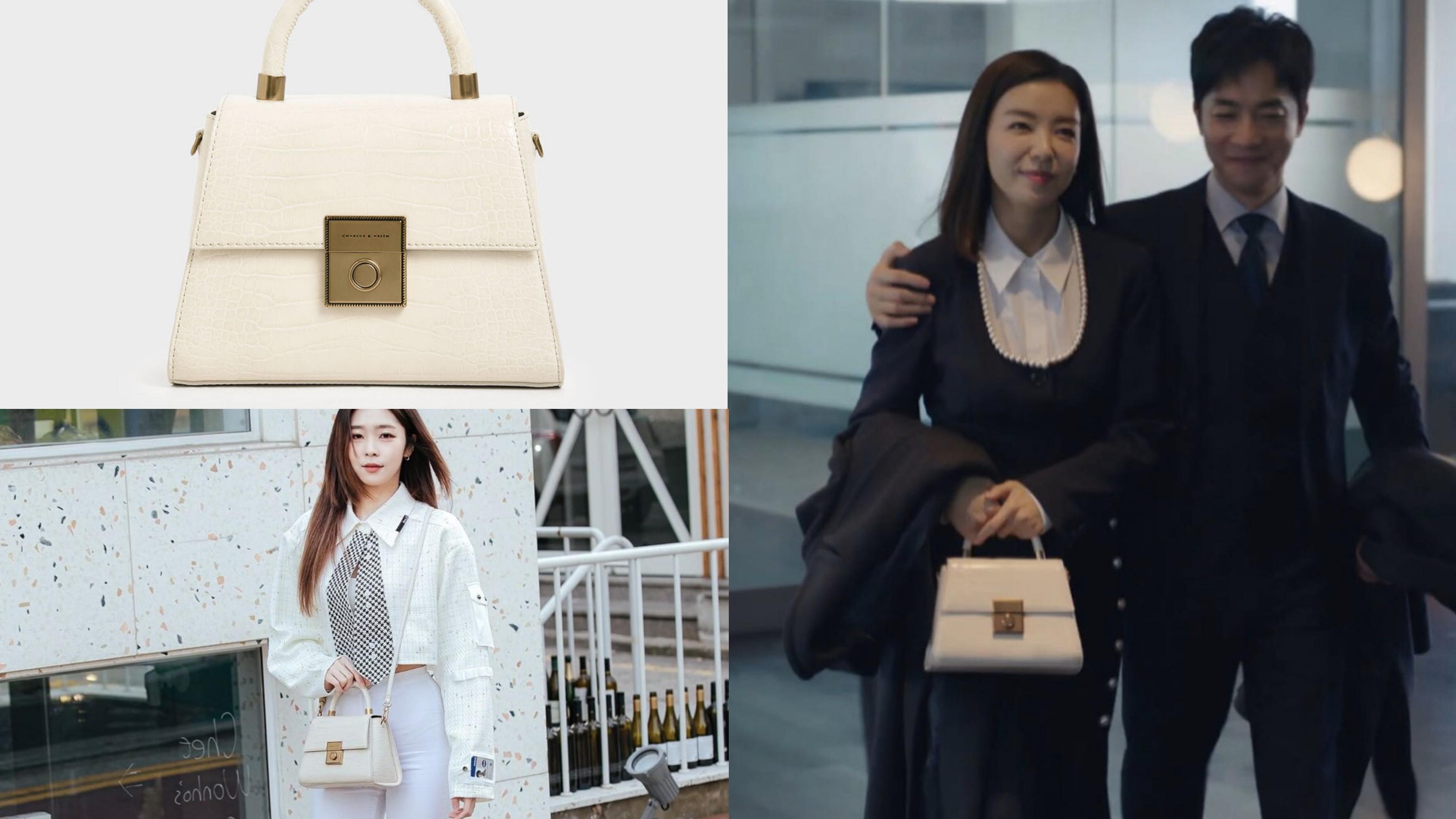 飾演女配角貴婦高藝琳的朴宣暎,全身亮點就是CHARLES & KEITH白色鱷魚紋壓扣手提包