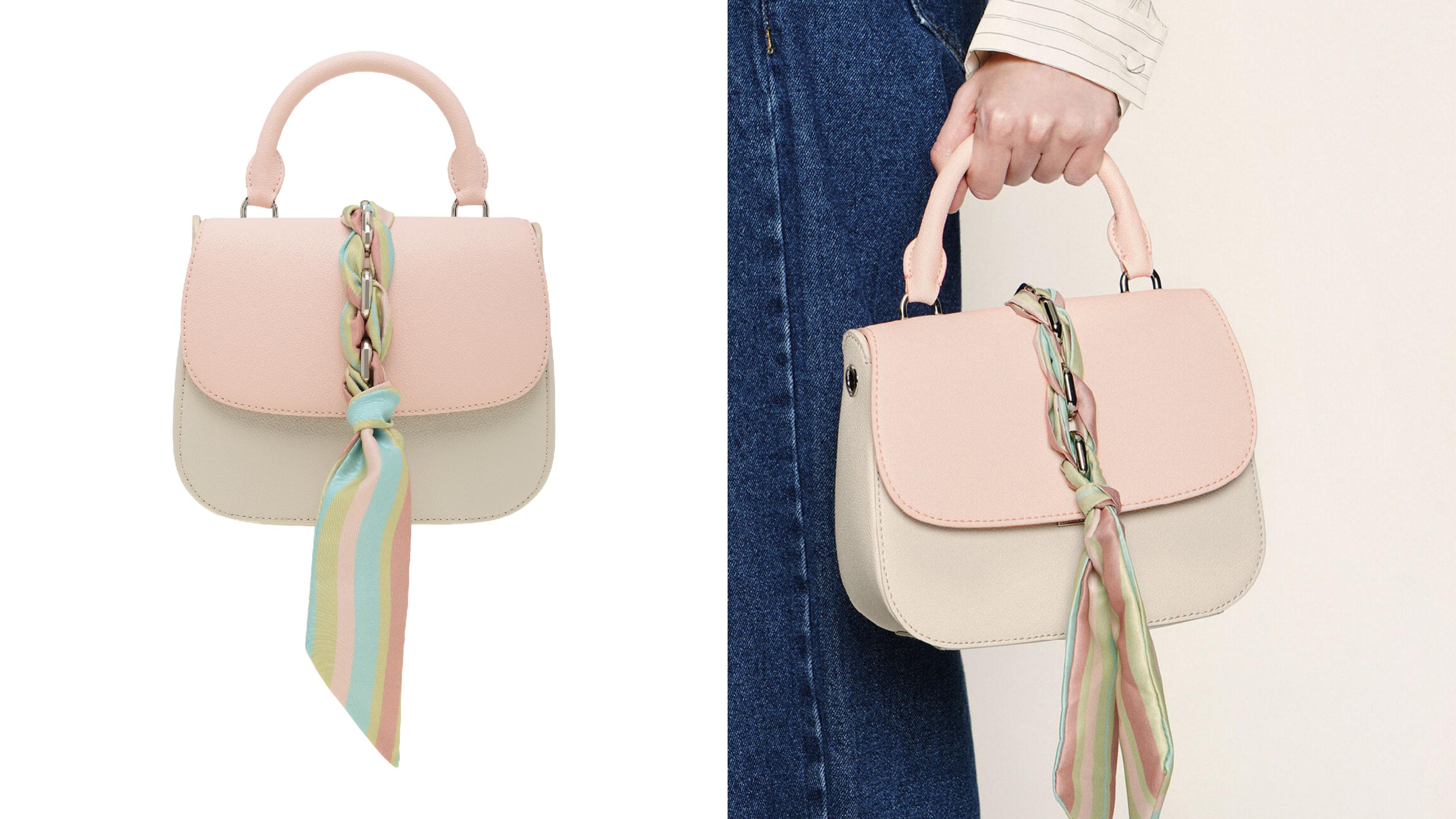 淡雅粉嫩的撞色設計點綴多彩扭結絲巾,將春天的溫柔與活力展現於日常造型中