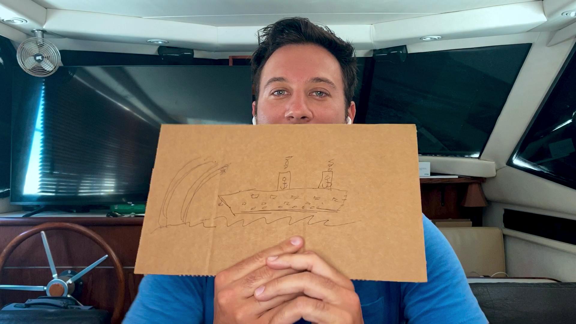 Netflix《慾罷不能》成員布萊斯(Bryce Hirschberg)在自己住的遊艇裡參與最新一集拍攝