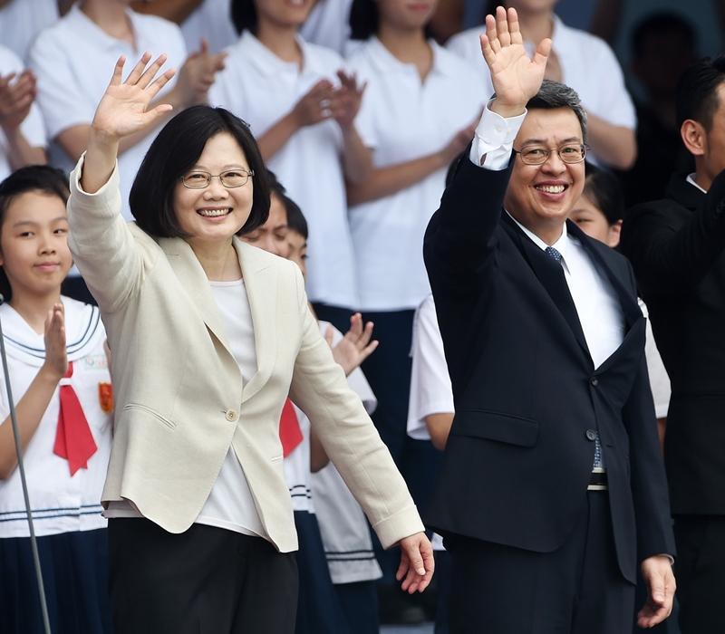 2016 年就職大典,蔡英文總統與當時副總統陳建仁。